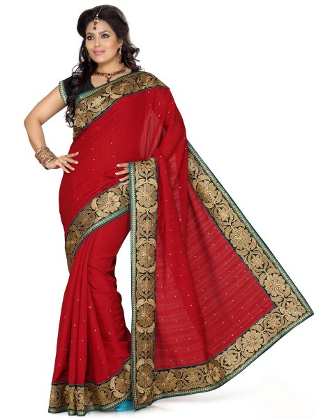 Maroon Bhagalpuri Silk Embroidered Party Saree