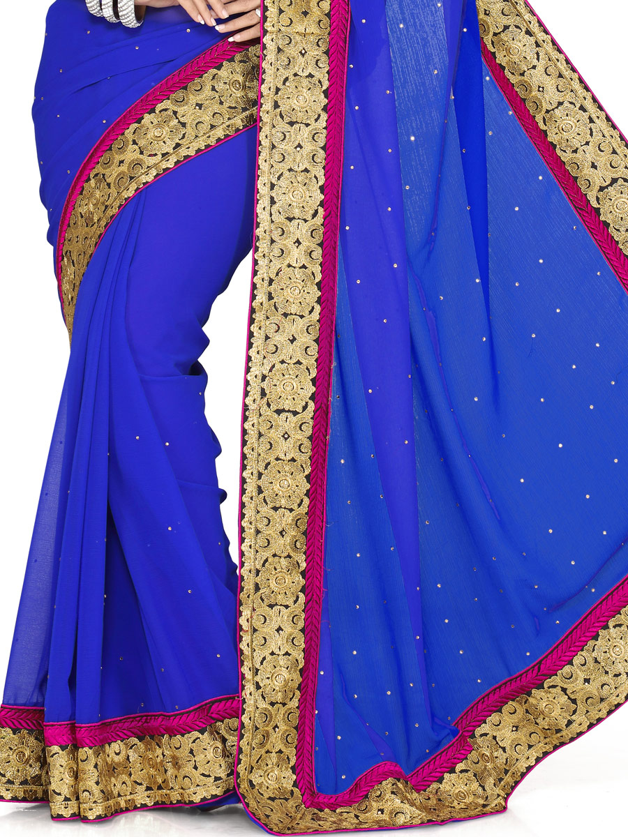 Royal Blue Chiffon Embroidered Party Saree