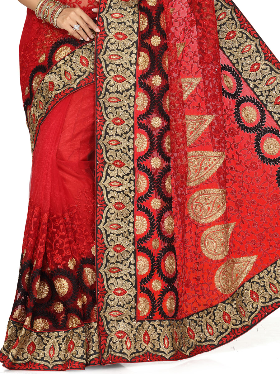 Maroon Net Embroidered Party Saree