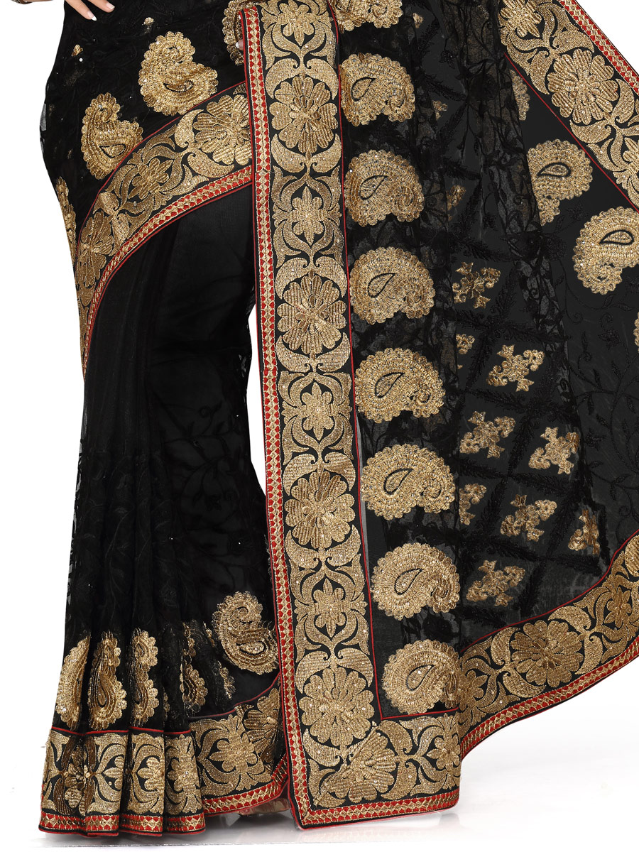 Black Net Embroidered Party Saree