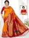 Pumpkin Orange and Rose Madder Red Art Silk Handwoven Festival Saree