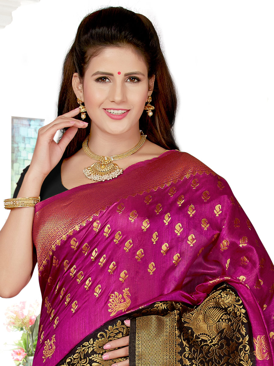 Magenta Pink and Black Art Silk Handwoven Festival Saree