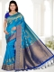 Cerulean Blue and Navy Blue Art Silk Handwoven Festival Saree
