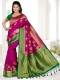Magenta Pink and Dark Green Art Silk Handwoven Festival Saree
