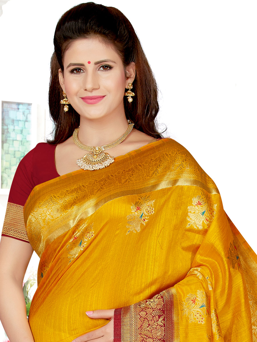 Saffron Yellow and Venetian Red Art Silk Handwoven Festival Saree