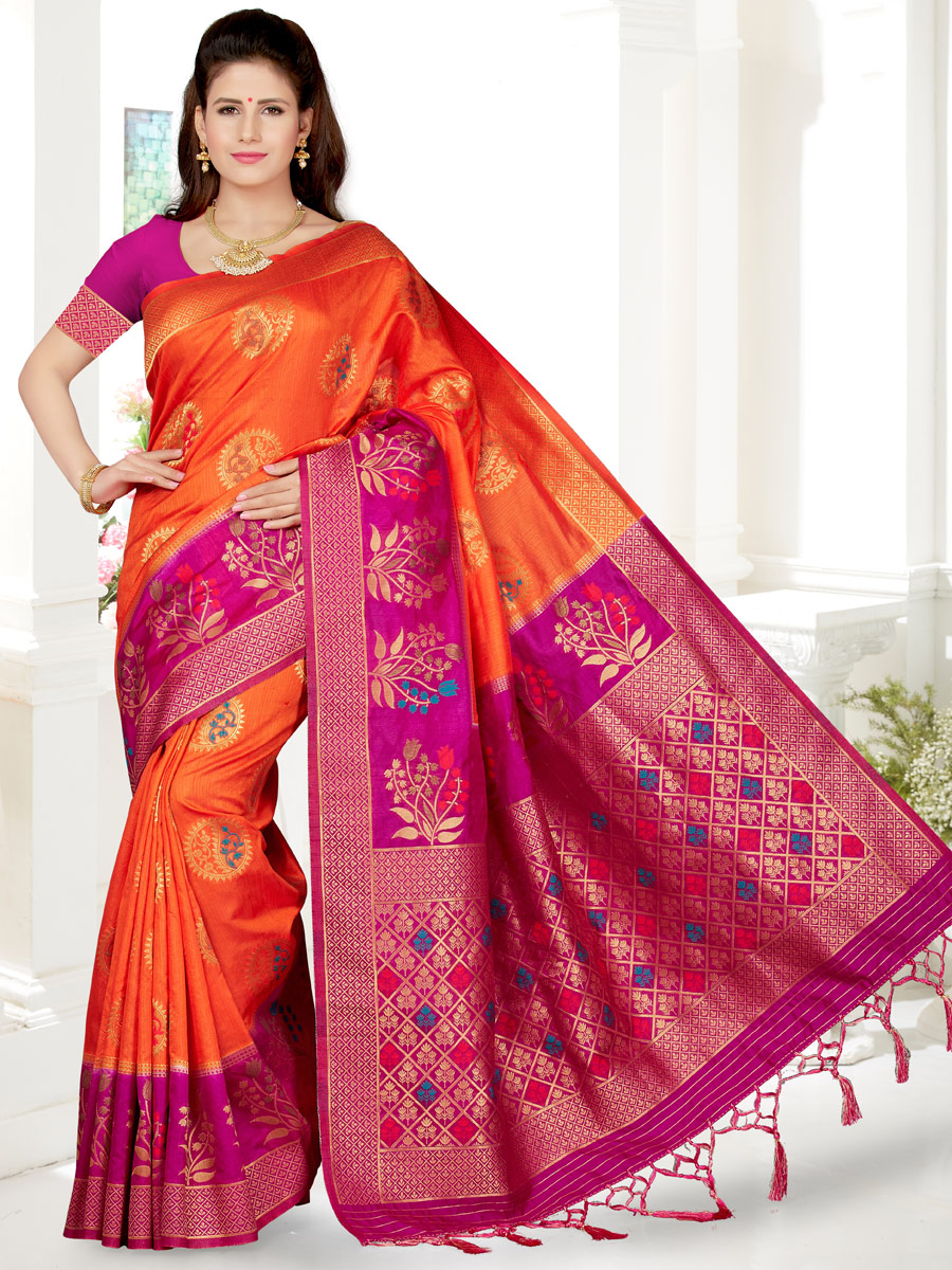 Portland Orange and Magenta Pink Art Silk Handwoven Festival Saree