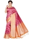 Magenta Pink and Pumpkin Saree Art Silk Handwoven Festival Saree
