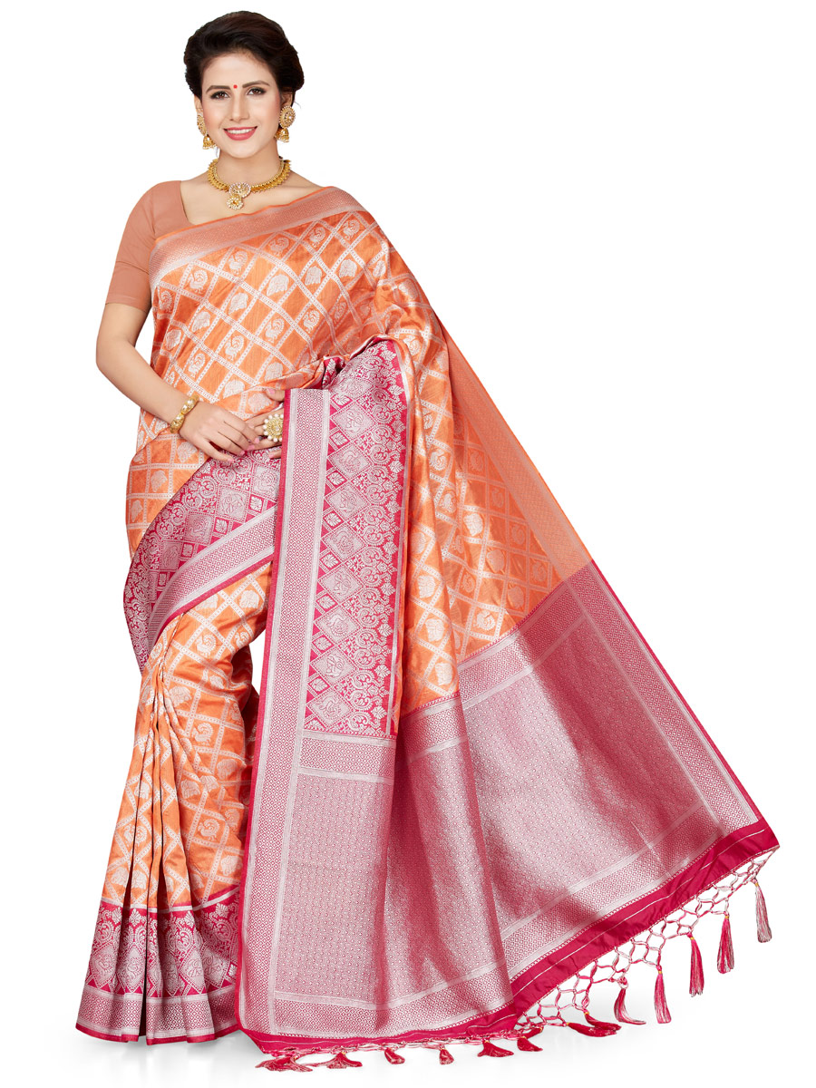 Coral Pink and Magenta Pink Art Silk Handwoven Festival Saree
