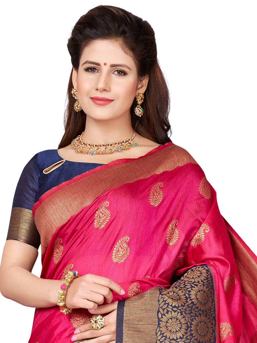 Magenta Pink and Navy Blue Art Silk Handwoven Festival Saree