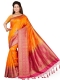 Pumpkin Orange and Magenta Pink Art Silk Handwoven Festival Saree
