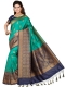 Pine Green and Navy Blue Art Silk Handwoven Festival Saree