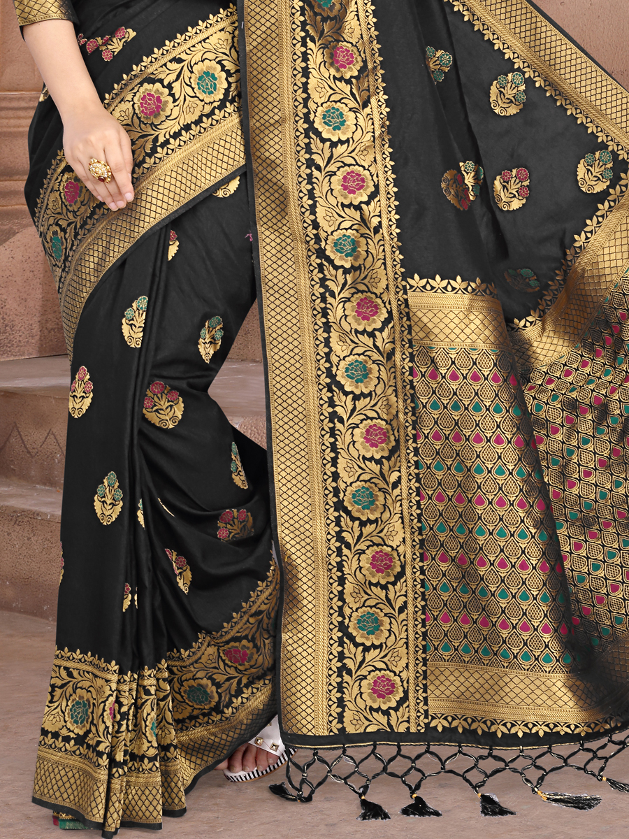 Black Silk Handwoven Festival Saree