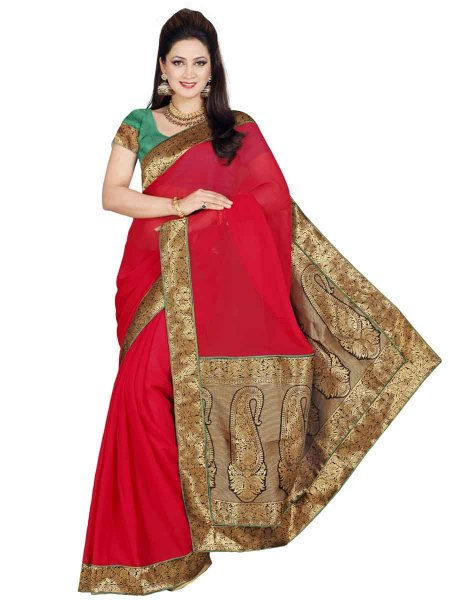 Vermilion Red Chiffon Plain Casual Saree