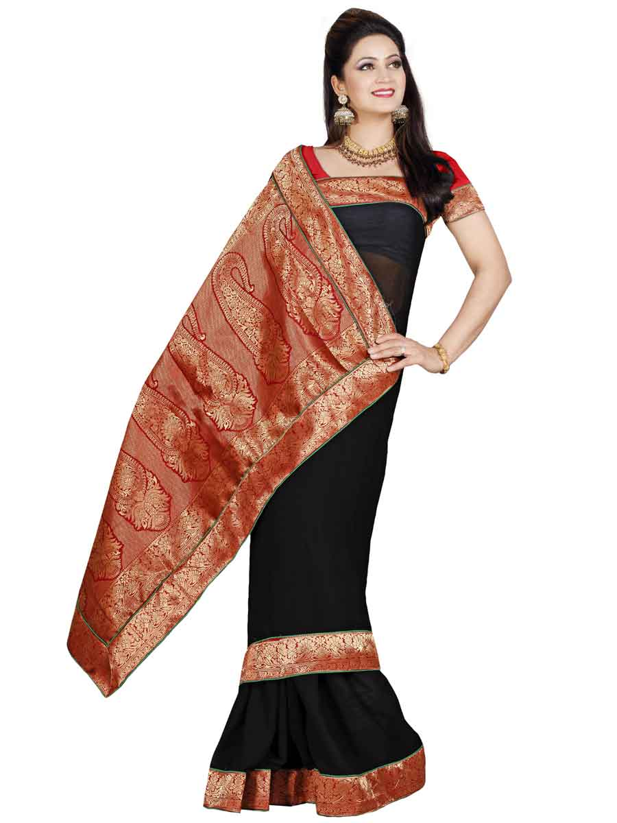 Black Chiffon Plain Casual Saree
