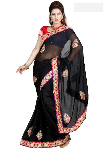 Black Chiffon Embroidered Casual Saree