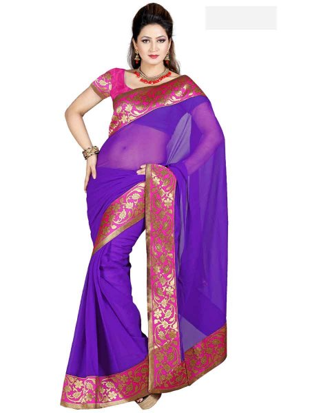 Purple Chiffon Plain Casual Saree