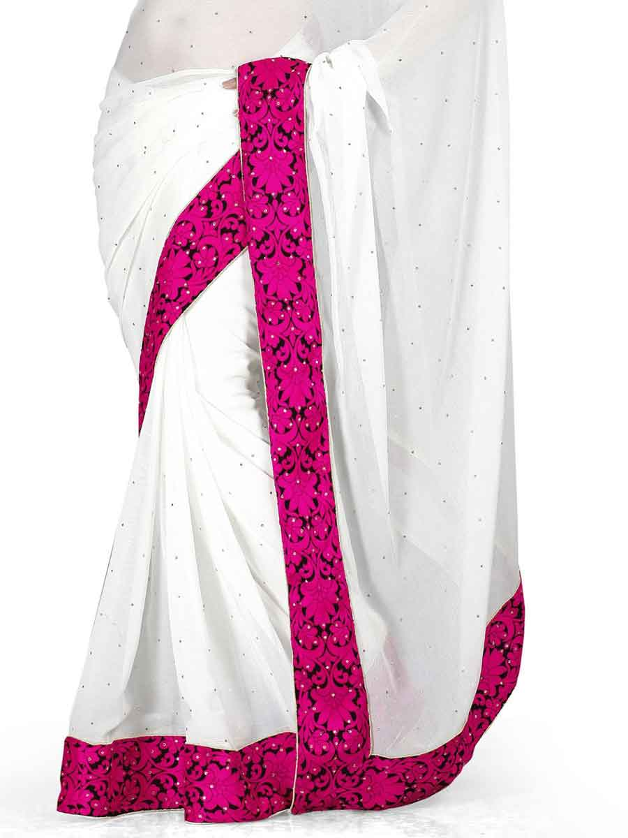White Chiffon Plain Casual Saree