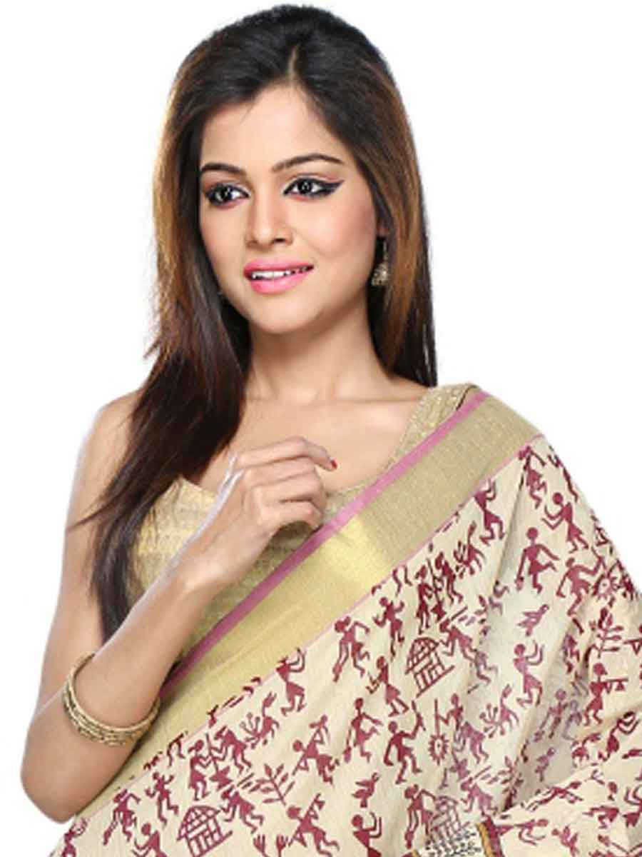 Gray and Light Brown Cotton Printed Casual Saree