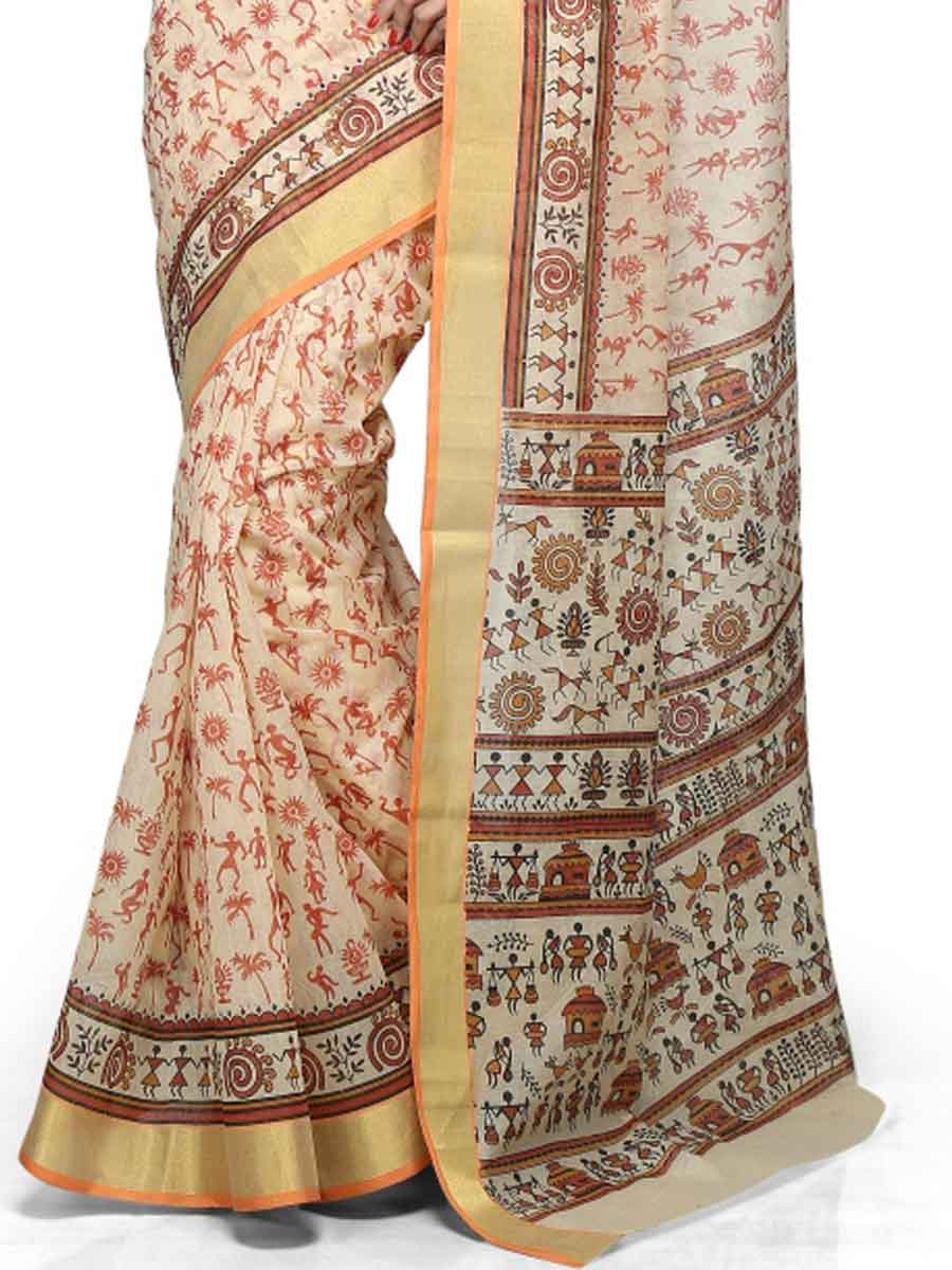 Cream Yellow and Rust Orange Chanderi Cotton Printed Casual Saree