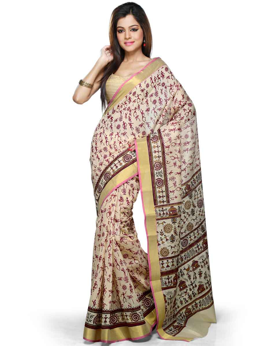 Cream Yellow and Maroon Chanderi Cotton Printed Casual Saree