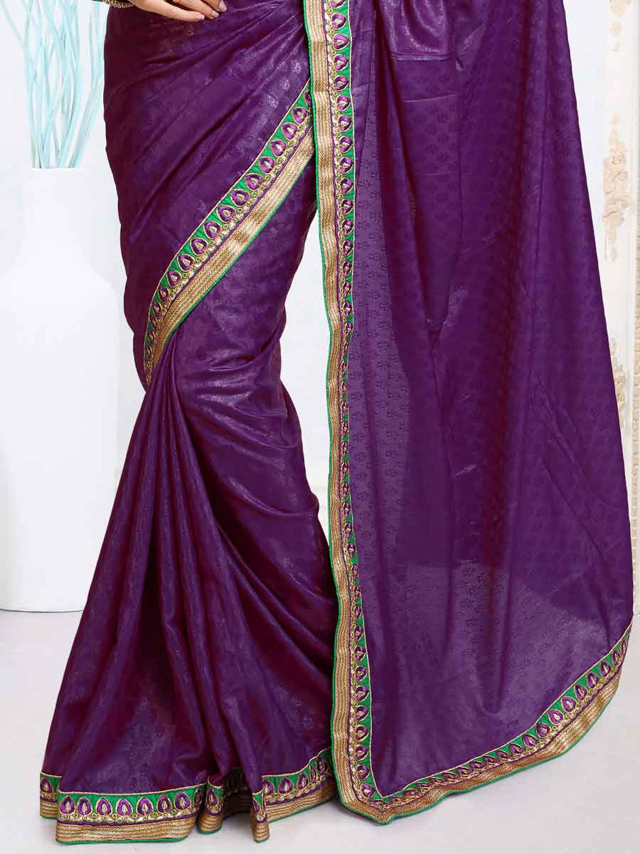 Purple Jacquard Embroidered Party Saree