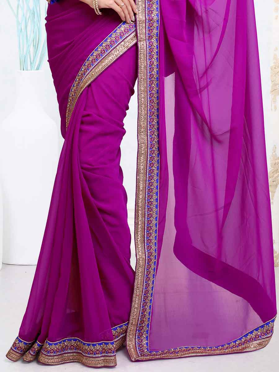 Magenta Pink Faux Georgette Embroidered Party Saree