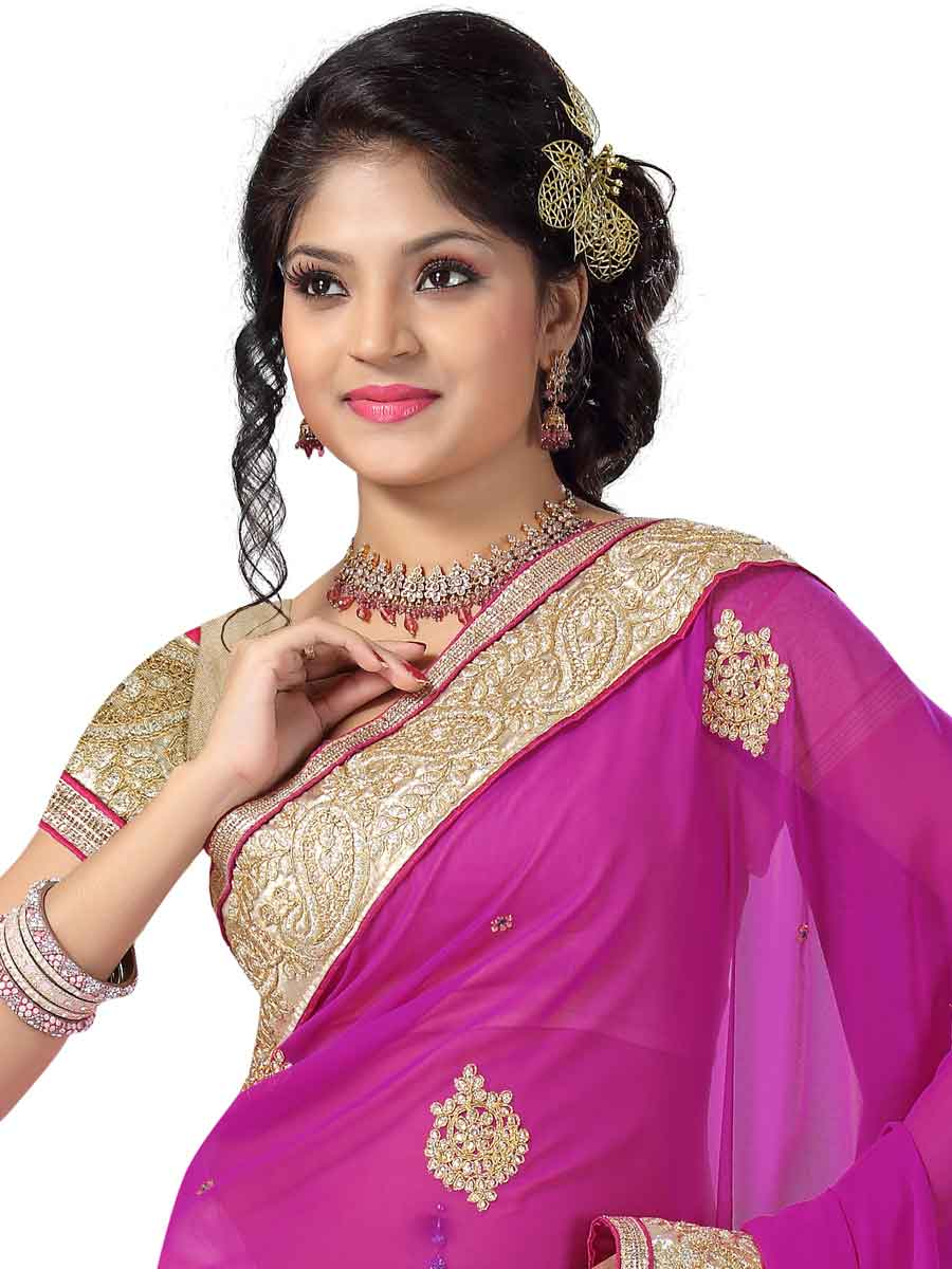 Magenta Pink and Cream Yellow Faux Georgette and Net Embroidered Party Saree
