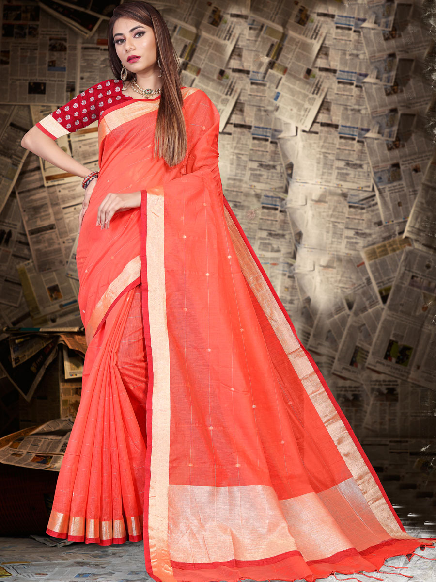 Carmine Pink Linen Silk Plain Casual Saree