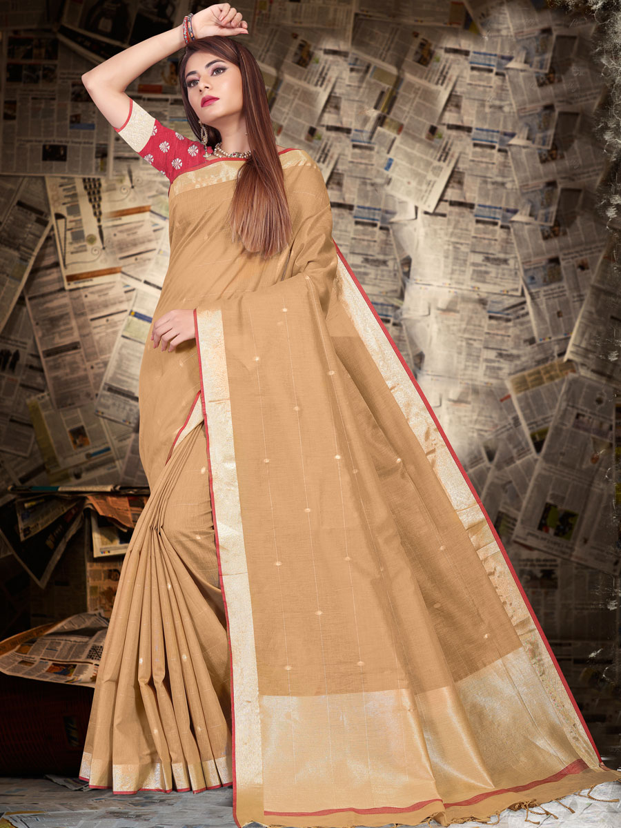 Beige Yellow Linen Silk Plain Casual Saree