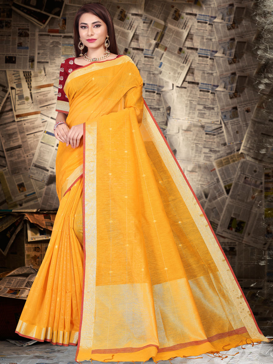 Amber Yellow Linen Silk Plain Casual Saree
