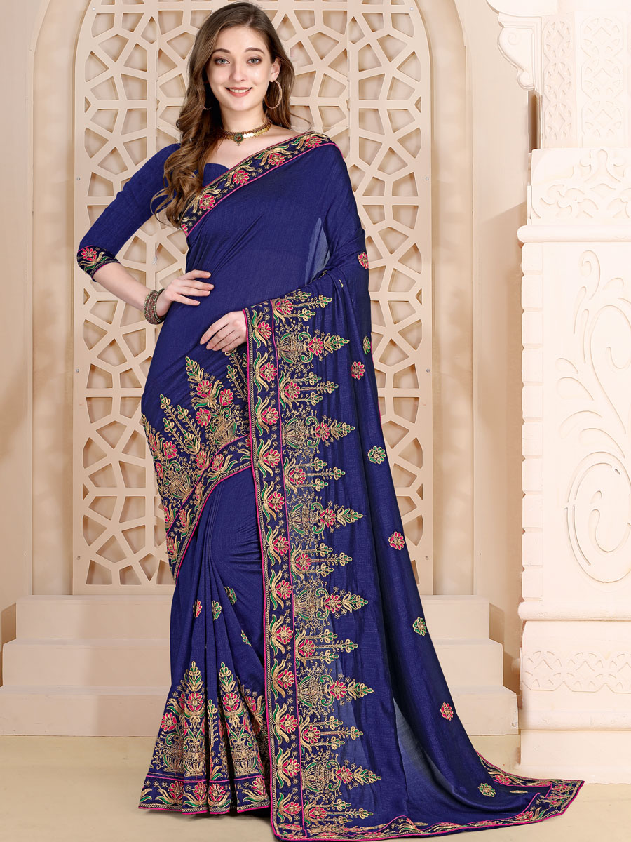Navy Blue Vichitra Silk Embroidered Festival Saree