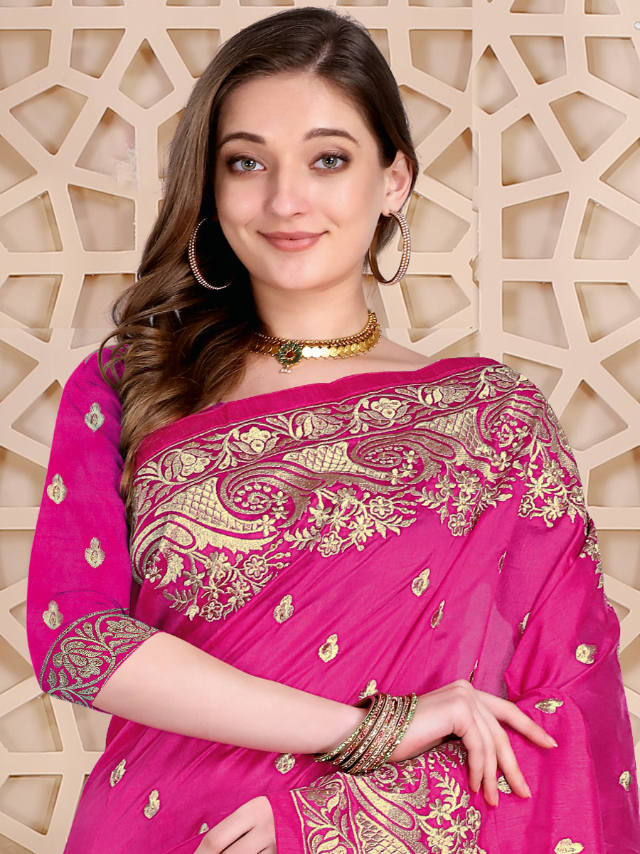 Magenta Pink Silk Embroidered Festival Saree