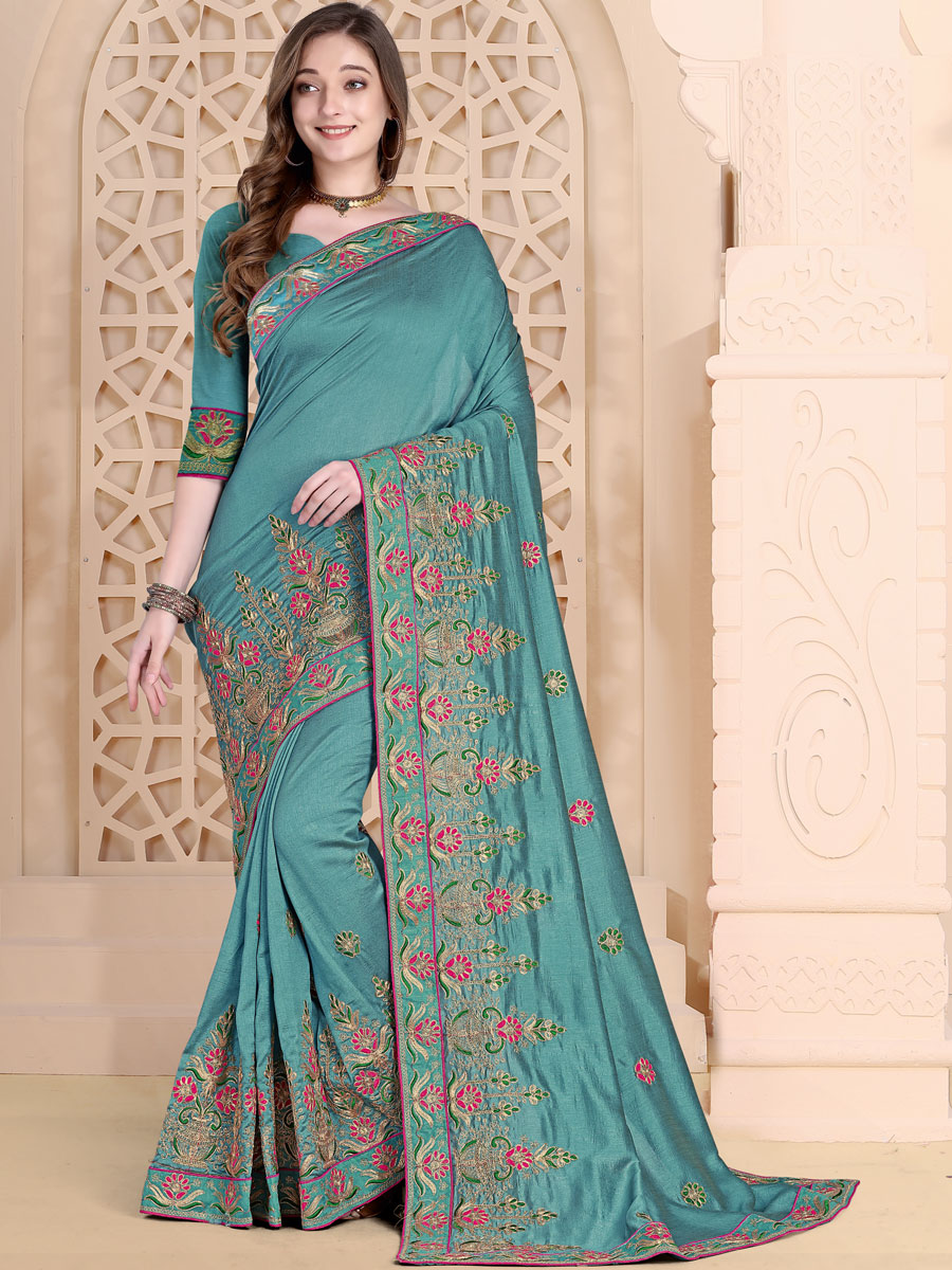 Light Viridian Green Vichitra Silk Embroidered Festival Saree