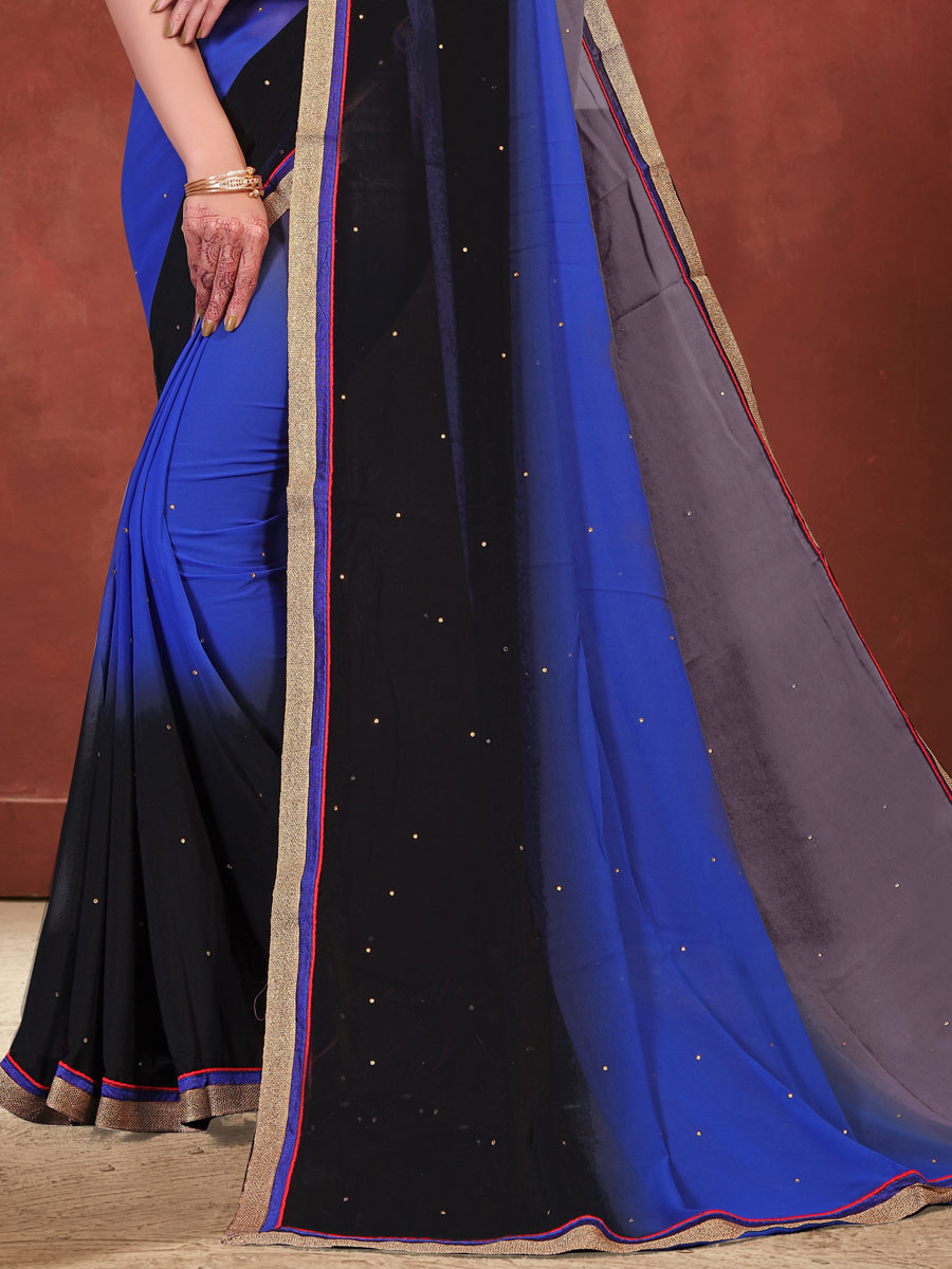 Gray and Dark Blue Faux Georgette Embroidered Party Saree