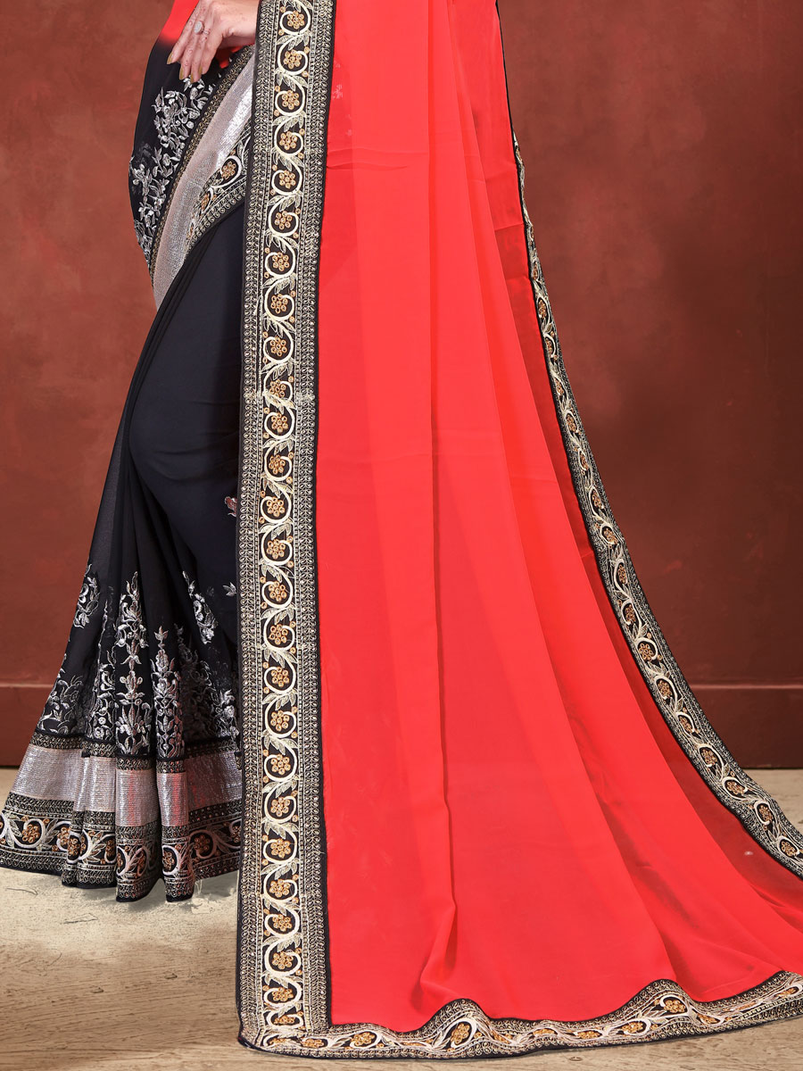 Vermilion Red and Black Faux Georgette Embroidered Party Saree