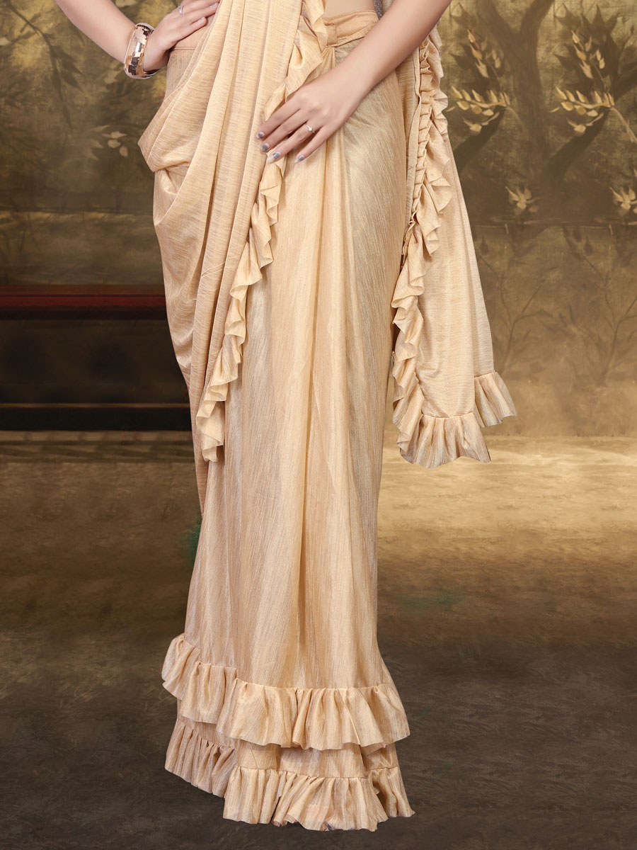 Light Beige Yellow Lycra Designer Party Saree