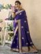 Royal Blue Banarasi Katan Silk Handwoven Festival Saree