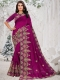 Byzantium Purple Vichitra Silk Embroidered Party Saree
