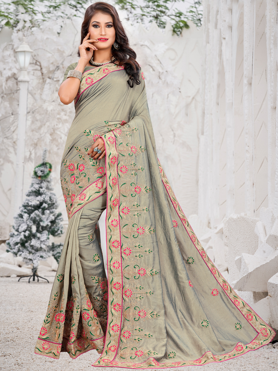 Gray Vichitra Silk Embroidered Party Saree