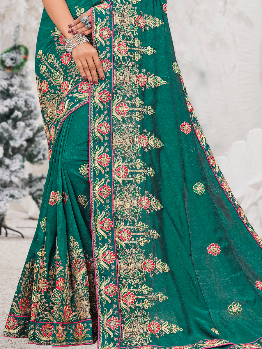 Pine Green Vichitra Silk Embroidered Party Saree
