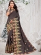 Seal Brown Vichitra Silk Embroidered Party Saree