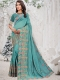 Sky Blue Vichitra Silk Embroidered Party Saree