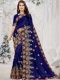 Navy Blue Vichitra Silk Embroidered Party Saree