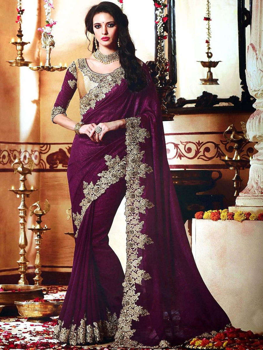 Wine Red Vichitra Silk Embroidered Party Saree