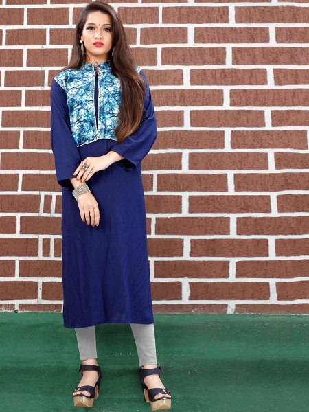 Navy Blue Art Silk Plain Casual Kurti