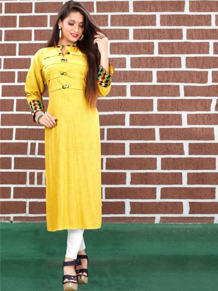 Maize Yellow  Art Silk Plain Casual Kurti