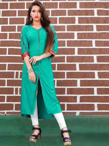 Jungle Green Art Silk Plain Casual Kurti