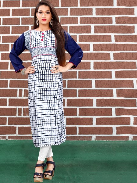 White and Navy Blue Art Silk Printed Casual Kurti
