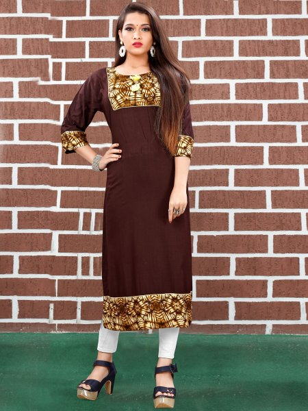 Auburn Brown Art Silk Printed Casual Kurti