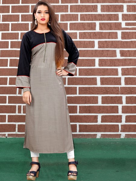Gray and Black Art Silk Plain Casual Kurti